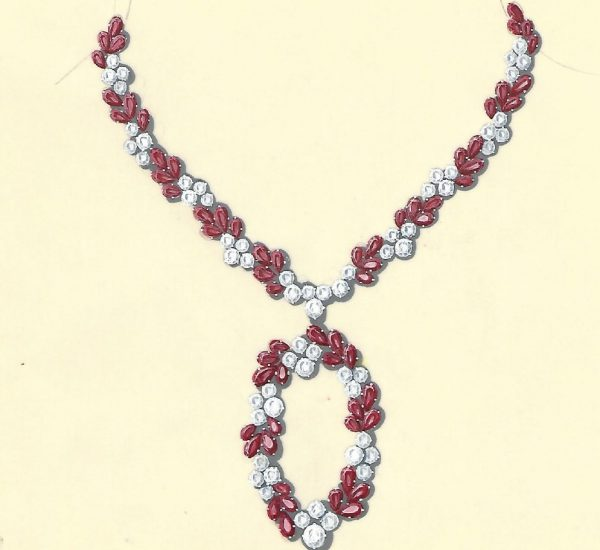 Collar de rubíes y brillantes